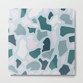 Abstract Terrazzo - Teal & Turquoise Metal Print