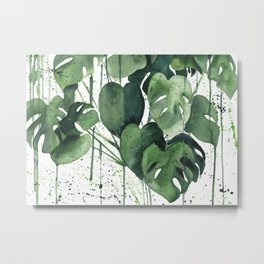 Abstract Monstera Deliciosa Painting Metal Print