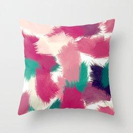 Fuchsia & Green Brushstrokes Throw Pillow