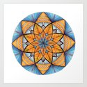 Sapphire-Gold Mandala (on white) by katealli