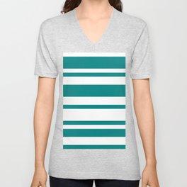 Mixed Horizontal Stripes - White and Dark Cyan Unisex V-Neck