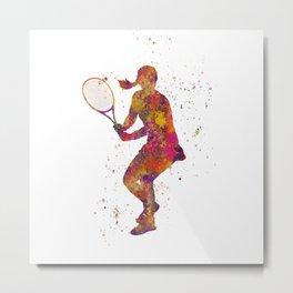 Woman plays tennis in watercolor 08 Metal Print