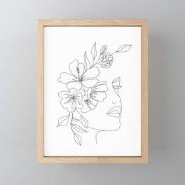 Minimal Line Art Woman Face II Framed Mini Art Print