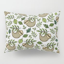 Little Sloth Hanging Around, Cute Sloth Print, Gray and Green, Hand-Drawn Sloth Pillow Sham