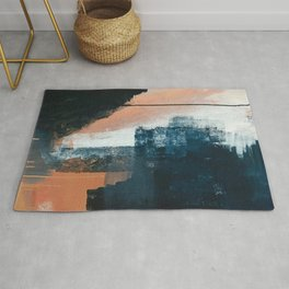 Vienna: a minimal, abstract mixed-media piece in pinks, blue, and white by Alyssa Hamilton Art Rug