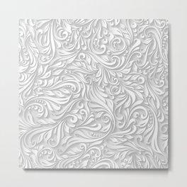 Floral White Metal Print
