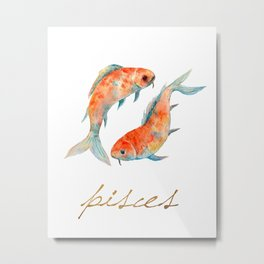 Watercolor Pisces Koi Fish Metal Print