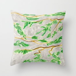 Hemlock Study Brush Pen Illustration by Amanda Laurel Atkins Throw Pillow