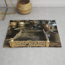 Handcrafted Tin And Copper Kitchenwares Rug