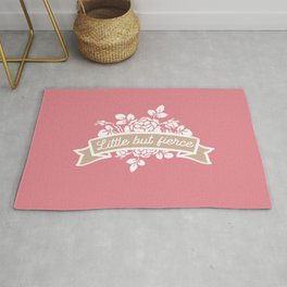 Little but fierce banner with florals Rug