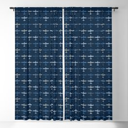 Blue airplane pattern Blackout Curtain