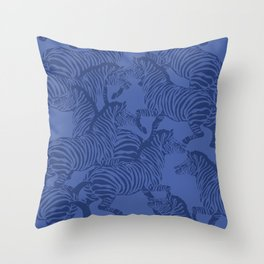 Zebra Stampede in Classic Blue Throw Pillow