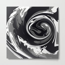 HURRICANE black white and grey swirl abstract design Metal Print