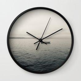 Lone Boat on Lake Wall Clock