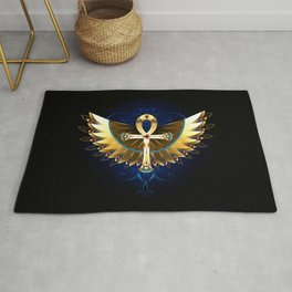 Gold Ankh with Wings Rug