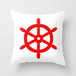 Ship Wheel (Red & White) Throw Pillow