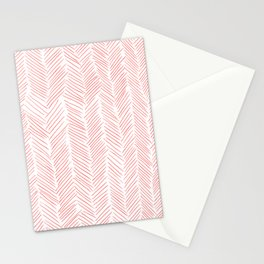 Living Coral Herringbone Stationery Cards