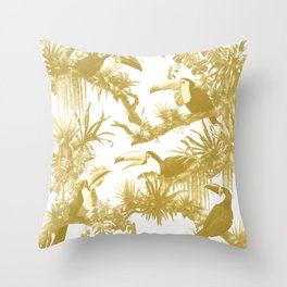Toucans and Bromeliads - Spicy Mustard Throw Pillow