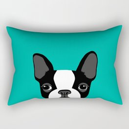 Boston Terrier Peek - Black on Teal Rectangular Pillow