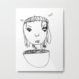 Eating Cereal Metal Print