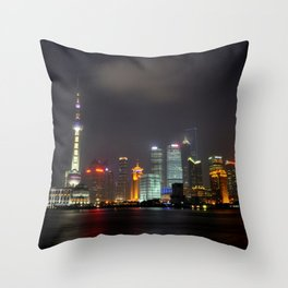 The Shanghai Skyline Throw Pillow