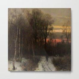 Alone in a Winter Wood by Sophus Jacobsen Metal Print