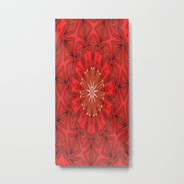 Red Bold Kaleidoscope Pattern Metal Print