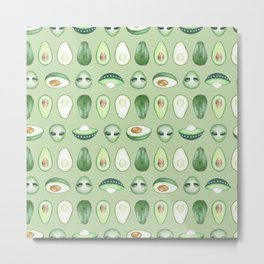 Avocados and aliens pattern Metal Print