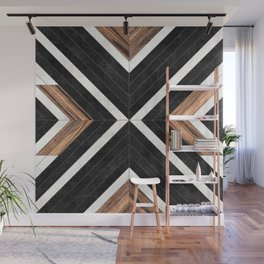 Urban Tribal Pattern No.1 - Concrete and Wood Wall Mural