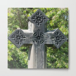 Gothic Style Christian Cross Headstone Old Holy Trinity Church in Wentworth  Metal Print