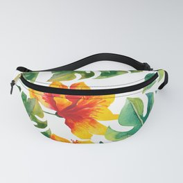 Monstera And Hibiscus Fanny Pack