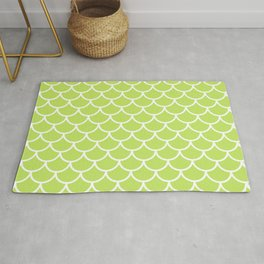 Lime Green fish scales pattern Rug