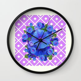 Lilac-White Pattern Blue Morning Glories Art Wall Clock