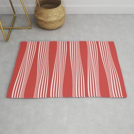 wavy stripes in cherry red Rug