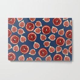 Figs - Pomegranate - blue Metal Print