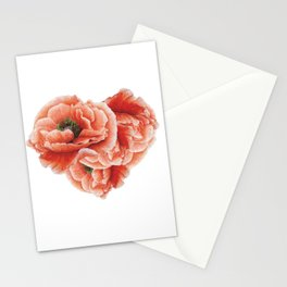 poppies heart Stationery Cards