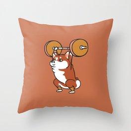 The snatch weightlifting Corgi Throw Pillow