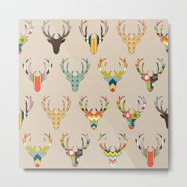 retro deer head on linen Metal Print