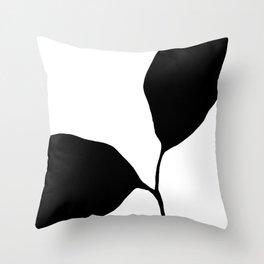 Seedling Leaning Left - Black and White Botanical Throw Pillow