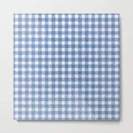 Nappy Faux Velvet Gingham in Blue on White Metal Print