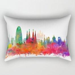 Barcelona Skyline Watercolor by zouzounioart Rectangular Pillow