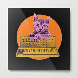 Retro Cat playing on Synth Metal Print