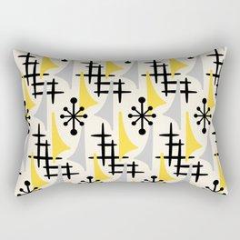 Mid Century Modern Atomic Wing Composition Yellow & Grey Rectangular Pillow