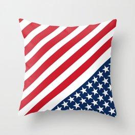 USA American Flag Slanted Stripes Throw Pillow