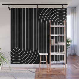 Minimal Line Curvature - Black and White II Wall Mural