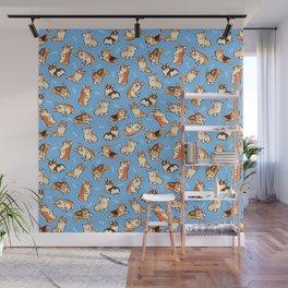 Jolly corgis in blue Wall Mural