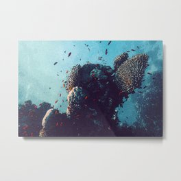 Stunning Coral Reef Watercolor Ocean Art Beautiful Earth Edition Metal Print