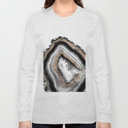 Agate Gold Glitter Glam #1 #gem #decor #art #society6 Long Sleeve T-shirt