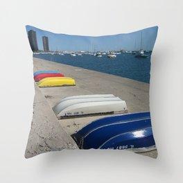 Chicago Shoreline, Skyline, Boats Throw Pillow