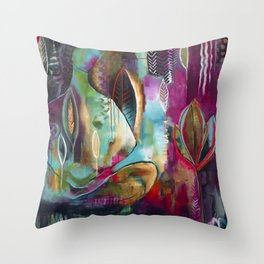 """Held and Healed"" Original Painting by Flora Bowley Throw Pillow"